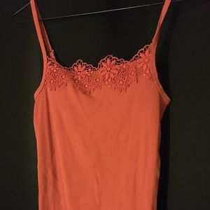 Aeropostale Tank Top with Floral Detailing (Coral)